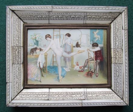 Rare Antique Austrian Risque Erotic Goache of a Nude Ballerina & Monkeys